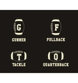 American football badge monograms with players vector image vector image