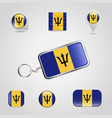 barbados country flag on keychain and map pin vector image vector image