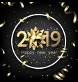 black 2019 happy new year card with gold bow and vector image