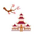 blooming sakura branch pagoda set vector image vector image