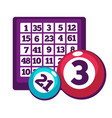 board with numbers and numberd balls for bingo vector image vector image