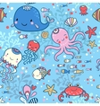 Cartoon marine seamless pattern for wallpapers vector image