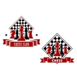 Chess emblems with chessboard and pieces vector image