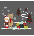 Christmas greeting card with deer and santa claus vector image vector image