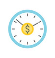 clock and dollar sign time is money concept icon vector image