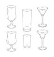 collection of hand drawn glasses for cocktails and vector image vector image