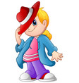 cute cartoon fashion kid vector image
