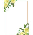 decorative golden rectangular frame with vector image vector image