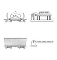design of train and station logo vector image vector image
