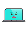 disappointed laptop computer isolated emoticon vector image vector image