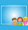 frame design with kids in pajamas vector image vector image