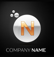 gold letter n logo silver dots splash and bubble vector image vector image
