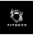grunge kettlebell on black background design vector image vector image
