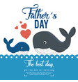 happy fathers day card with whale vector image vector image