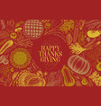 happy thanksgiving day greeting card hand vector image vector image