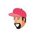 head of man with cap avatar character vector image vector image