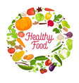 healthy food poster organic vegetables vector image vector image