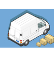Isometric White Van in Rear view vector image vector image