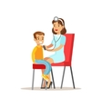 Kid On Medical Check-Up With Female Pediatrician vector image