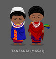 masai tanzanians in national clothes with a flag vector image