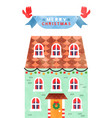 merry christmas cute watercolor xmas house card vector image
