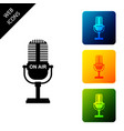 microphone icon isolated on air radio mic vector image vector image