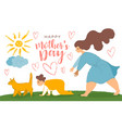 mother and son fun cartoon post card for mother s vector image vector image