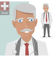 old doctor with stethoscope the character vector image