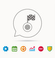 race icon wheel with racing flag sign vector image vector image