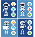 robots collection and icons vector image vector image