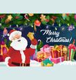 santa with christmas bell xmas and new year gifts vector image vector image