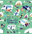 seamless pattern with relaxing people near camper vector image