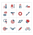 Set color icons of bicycle parts and accessories vector image