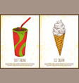soft drink and ice cream colorful poster vector image