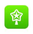 star for christmass tree icon digital green vector image