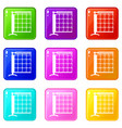 tennis net icons set 9 color collection vector image vector image