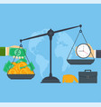 time and money on scales concept business people vector image