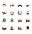transport icon set vector image vector image