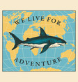 travel banner with hand-drawn shark and map vector image