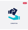 two color corruption icon from ethics concept vector image