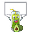 up board avocado smoothies in a mascot glass vector image vector image