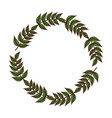 leaves branch wreath floral style decorative vector image