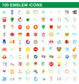 100 emblem icons set cartoon style