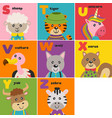 basic rgbalphabet card with cute animals s to z vector image vector image