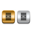 black barrel oil icon on silver and gold square vector image vector image