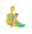 boy and girls playing on a slide kids on a vector image vector image