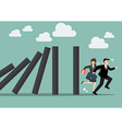 Business people run away from domino effect vector image vector image
