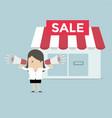 businesswoman shop promotion vector image vector image