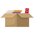 carton square brown box with things delivery vector image