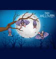 cartoon funny bats hanging on tree with halloween vector image vector image